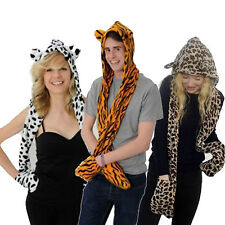 Ladies Mens Animal Fur Head Trapper Hat Hood Scarf Snood Gloves Beanie
