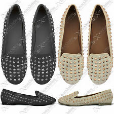 NEW LADIES STUD SPIKE SHOES BALLERINAS WOMENS SLIPPERS SLIP ON PUMPS FAUX SUEDE