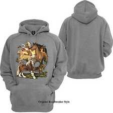 Hoodie/Hoody grey with animal- & nature motif Model Many Horse