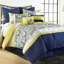 NEW Queen King Bed Blue Green Embroidered Paisley Geo 8 pc Comforter Set Elegant