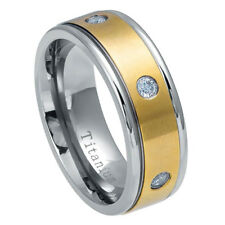 8mm Titanium Band Two tone Yellow IP Titanium Ring Six Cubic Zirconia CZs