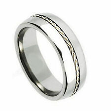 Men's 8mm Titanium Band Ring Grooved with Braided Sterling Silver Inlay