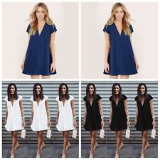 Fashion Lady Deep V-Neck Short Sleeve Party Chiffon Shirt Dress Tops Plus S-3XL