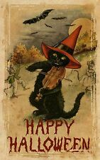 "Halloween Cat Playing Violin Poster Window Decal or Print 4"" x 6"" - 16"" x 24"""