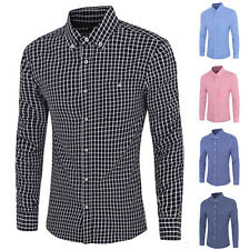 2016 Newest Hot Sell Mens Casual Long Sleeve Plaid Button Slim Fit Dress Shirt