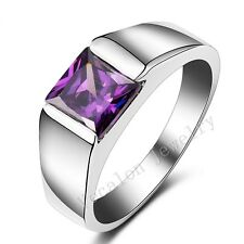 Handmade Jewelry Solitaire Men 3ct Amethyst Cz Silver Wedding Band Finger Ring