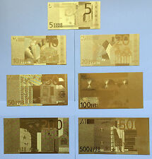 5,10,20,50,100,200,500 Euro Bank Notes Training 7p 24K Gold Foil Paper Money  01