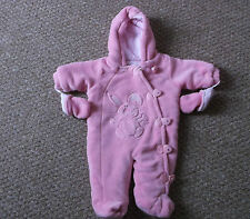 Baby Girls Babaluno Pink fleece Snowsuit, Newborn size with mittens