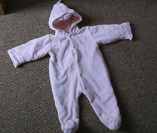 Baby Girls House of Fraser Pink fleece Snowsuit, age 3-6 Months