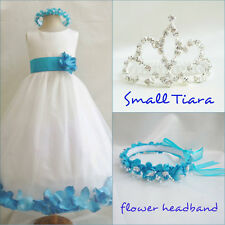 Gorgeous Ivory turquoise blue rosepetal wedding flower girl party dress all size