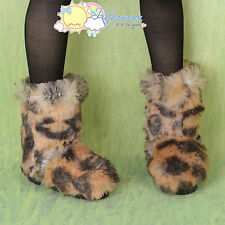 Doll Shoes Fluffy Furry Fuzzy Boots Shaggy Leopard For 1/3 SD Girl Dollfie BJD