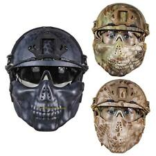 #QZO Tactical Airsoft Paintball Helmet Half Face Mask w/ Goggle Hunting CS Games