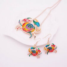Crab Jewelry Sets Gift Silver Plated 1 sets Earring Necklace Colorful