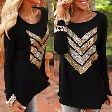 Retro Women's Long Sleeve Casual T-Shirt Arrow Print Tops Blouse Loose Outerwear