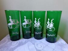 Set of 4 Vintage Anchor Hocking Forest Green Motion Tall Tom Collins Glasses