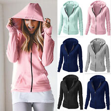 NEW Womens Sports Hooded Sweatshirt Tops Coat Long Sleeve Zip Up Jacket Outwear