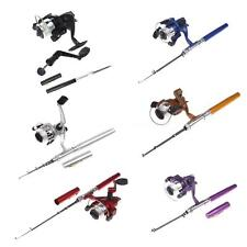 Mini Aluminum Pocket Pen Fishing Rod Pole + Reel Assorted Color Y6N3