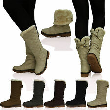 Womens Ladies Quilted Faux Fur Lined Thick Sole Mid Calf Boots Shoes Size