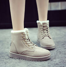 Womens Shoes Winter Warm Snow Boots Casual Faux Suede Fur Lace-up Ankle Boots