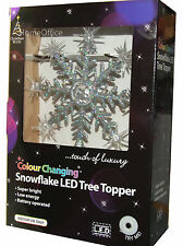Xmas Christmas Tree Top Topper LED Snowflake Decoration 30cm high Colour Change