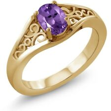 0.35 Ct Oval Purple Amethyst 18K Yellow Gold Plated Silver Ring