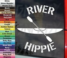 "Kayak Boat + Paddle River Hippie Kayaker Funny 5.5"" Vinyl Sticker Car Decal"