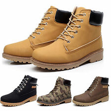 Men Gents Walking Hiking Tactical Hunting Boots Leather Ankle Trainer Work Shoes