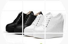 Women's High-top Wedge Hidden Heel Platform Fashion Sneakers Trainer Shoes