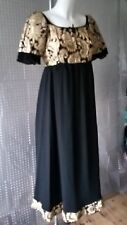 VINTAGE QUAD BLACK CHIFFON AND GOLD EMBROIDERY FULLY LINED DRESS SIZE 10