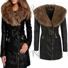 New Womens Faux Fur Collar PU Leather Belted Black Long Trench Biker Jacket Coat