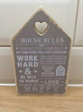 Wooden Block Plaque Sign House Rules Home Decor Gift Shabby Chic Heart