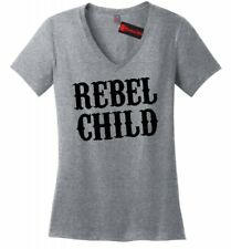 Rebel Child Ladies V-Neck T Shirt Country Music Redneck Southern Rebel Gift Z5