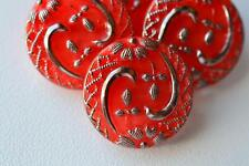 """640 - PRETTY SET (4) OF VINTAGE CZECH OLD GLASS 3/4"""" SILVER & CORAL BUTTONS"""