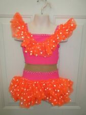 Orange Pink Polka Dot Conga Jazz Dance Costume Int Medium Child IC MC 6 7 8 10