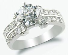 Stunning Simulated Diamond 2.0 ct Solid 14k SOLID White Gold Engagement Ring