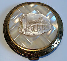 Vintage Mother of Pearl Gold Tone Compact Oriental Design