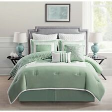 NEW Twin Full Queen King Bed Sage Green White Quilted 9 pc Comforter Set Elegant