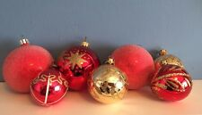6 Vintage/Retro Red Glass Christmas Tree Decorations.3 hand-painted1Gold/glitter