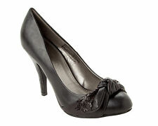 WOMENS BLACK OFFICE SMART WORK CASUAL HIGH HEEL COURT SHOES LADIES UK SIZE 3-8