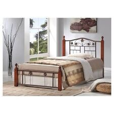 NEW Twin Full Queen Size Metal Wood Mattress Bed Frame Headboard Footboard Brown