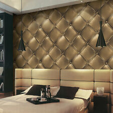 3D Luxury Skin PVC Headboard Textured Faux Leather Effect Rhombus Wallpaper Roll
