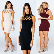New Women Ladies Caged Laser Cut Out Bodycon Sleeveless Dress Size 8-14