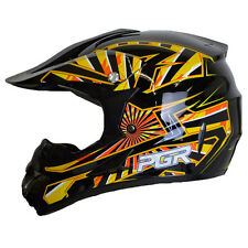Youth PGR X25 SPARK BLACK Yellow Motocross Dirt Bike Off Road MX BMX DOT Helmet