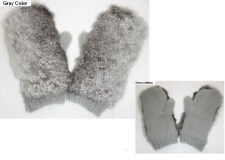 New Real Rabbit Gray or Black Fur Gloves Mittens Soft and Furry Knitted