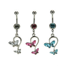 1Pcs Crystal Butterfly Dangle Ball Barbell Bar Belly Button Navel Ring Body JR