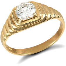 Jewelco London 9ct Gold CZ Solitaire Ribbed Gypsy Ring
