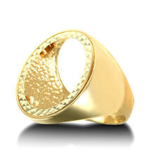Jewelco London 9ct Gold Domed Polished Full Sovereign Mount Ring