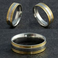 Stainless Steel Silver & Gold 2 tone Mens Wedding Ring Womens Band (size L to X)
