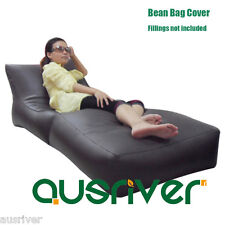 New 2in1 Foldable Bean Bag Lounge Chair Indoor Outdoor PU Bean Bag Sofa Cover