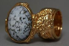 WHITE MARBLE GLASS KNUCKLE ART RING GOLD ARTY WOMAN VINTAGE CHUNKY STATEMENT